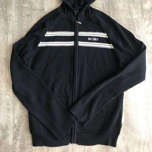 Black White BCBG XL Zip Cardigan w Hood & Pockets